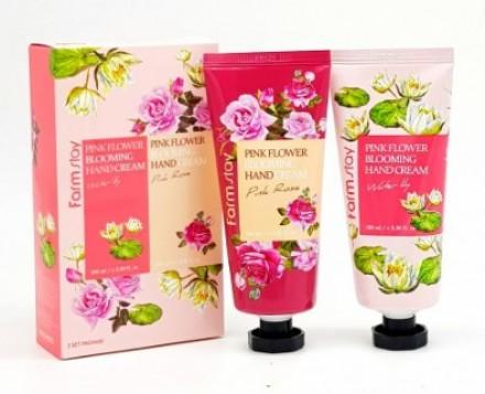 Набор кремов для рук водяная лилия и роза FARMSTAY Pink flower blooming hand cream 2 set 100ml*2: фото