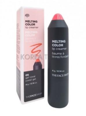 Помада губная тающая THE FACE SHOP Melting Color Lip Creamer №05 Gel Coral: фото