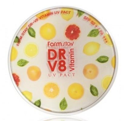 Пудра компактная с витаминами FARMSTAY DR-V8 vitamin UV pact SPF50 №13 12г*2шт: фото