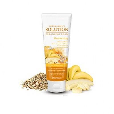 Пенка для умывания овсянка, банан DEOPROCE NATURAL PERFECT SOLUTION CLEANSING FOAM MOISTURIZING 170g 170гр: фото