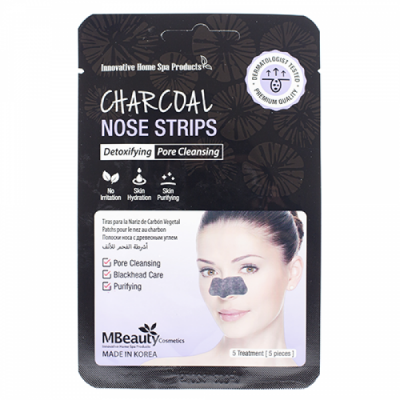 Полоски с древесным углем для очищения пор в области носа MBEAUTY CHARCOAL NOSE STRIPS, 5шт: фото