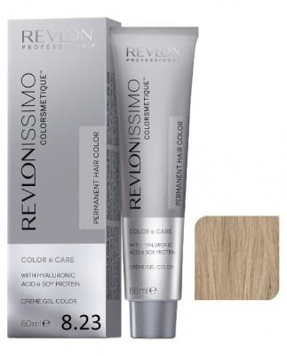 Краска перманентная Revlon Professional Revlonissimo Colorsmetique 8.23 Светлый Блондин Переливающийся Золотистый 60мл: фото