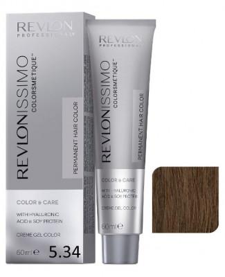 Краска перманентная Revlon Professional Revlonissimo Colorsmetique 5.34 Светло-Коричневый Золотисто-Медный 60мл: фото
