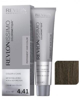 Краска перманентная Revlon Professional Revlonissimo Colorsmetique 4.41 Коричневый Медно-Пепельный 60мл: фото