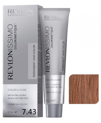 Краска перманентная Revlon Professional Revlonissimo Colorsmetique 7.43 Блондин Медно-Золотистый 60мл: фото