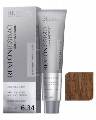 Краска перманентная Revlon Professional Revlonissimo Colorsmetique 6.34 Темный Блондин Золотисто-Медный 60мл: фото