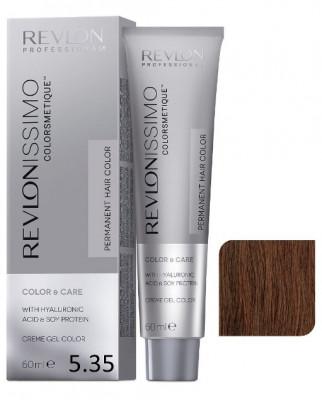 Краска перманентная Revlon Professional Revlonissimo Colorsmetique 5.35 Светло-Коричневый Золотисто-Махагоновый 60мл: фото