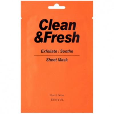 Тканевая маска для гладкости и регенерации кожи EUNYUL Clean & Fresh Exfoliate/Soothe 22мл: фото