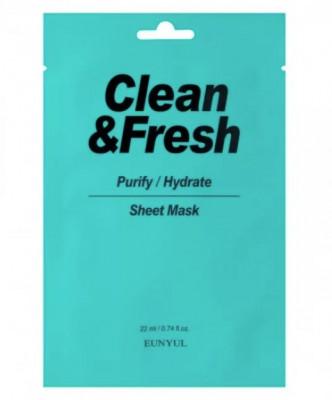 Тканевая маска для очищающего и увлажняющего эффекта EUNYUL CLEAN & FRESH PURIFY-HYDRATE SHEET MASK 22мл: фото