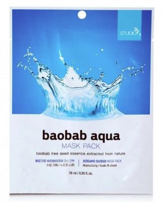 Тканевая маска с экстрактом баобаба BERGAMO Baobab Aqua Face Mask Pack 28 мл: фото