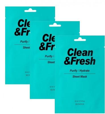 Набор тканевых масок для очищающего и увлажняющего эффекта EUNYUL CLEAN & FRESH PURIFY-HYDRATE SHEET MASK 22мл*3: фото