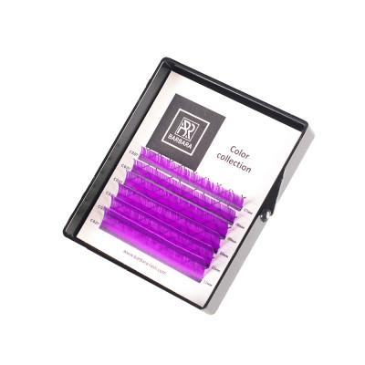 Ресницы цветные BARBARA (фиолетовые) МИНИ-МИКС (6 линий) (C 0.07 7-12mm): фото