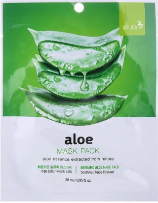 Тканевая маска для лица с экстрактом алоэ Bergamo Aloe Mask Pack 28 мл: фото