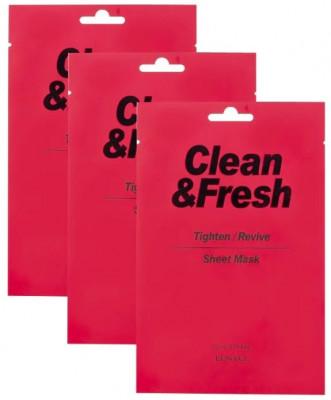 Набор тканевых масок для сужения пор EUNYUL CLEAN & FRESH TIGHTEN-REVIVE SHEET MASK 22мл*3: фото