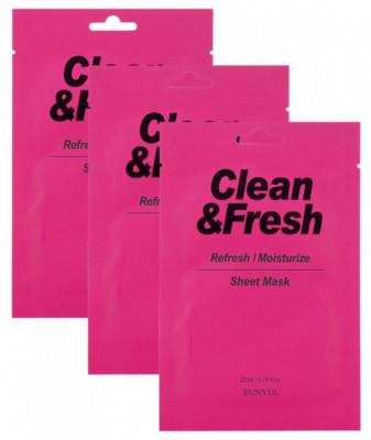 Набор тканевых масок для освежающего и увлажняющего эффекта EUNYUL CLEAN & FRESH REFRESH-MOISTUIZE SHEET MASK 22мл*3: фото