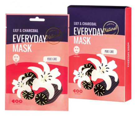 Набор масок для лица сужающих поры DEARBOO Lily&Charcoal 27мл*10шт: фото