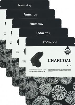 Набор тканевых масок для лица с углем FARMSTAY CHARCOAL VISIBLE DIFFERENCE MASK SHEET 23мл*5шт: фото