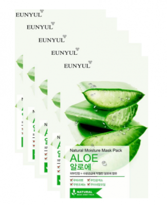 Набор тканевых масок с экстрактом алоэ EUNYUL Natural Moisture Mask Pack Aloe 22мл*3шт: фото