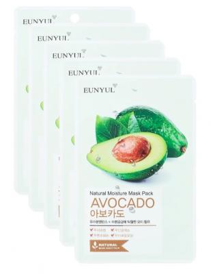 Набор тканевых масок с экстрактом авокадо EUNYUL NATURAL MOSTURE MASK PACK AVOCADO 22мл*5шт: фото