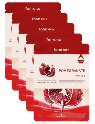 Набор тканевых масок с натуральным экстрактом граната FARMSTAY POMEGRANATE VISIBLE DIFFERENCE MASK SHEET 23мл*5шт: фото