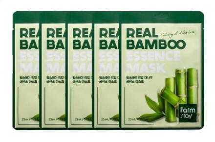 Набор тканевых масок для лица с экстрактом бамбука FARMSTAY REAL BAMBOO ESSENCE MASK 23мл*5шт: фото